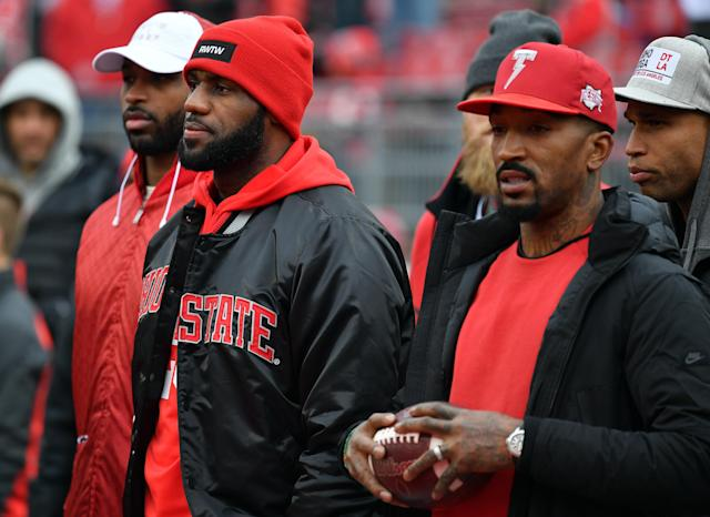 LeBron James on the sidelines at Ohio State's game vs. Michigan in 2016. He was also in attendance at Ohio State's national title win over Oregon in January 2015. (Photo by Jamie Sabau/Getty Images)