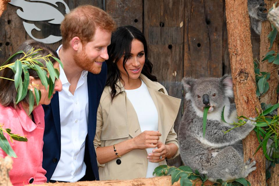 Prince Harry and Meghan Markle at the Taronga Zoo in Sydney, Australia during their royal tour in 2018. (Photo: Getty)
