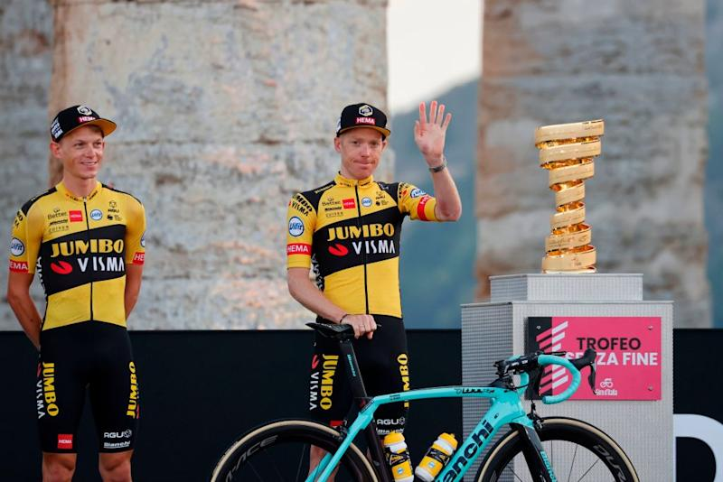 Team Jumbo rider Netherlands Steven Kruijswijk C waves on stage at the Doric Temple of Segesta near Palermo Sicily on October 1 2020 during an opening ceremony of presentation of participating teams and riders two days ahead of the departure of the Giro dItalia 2020 cycling race Photo by Luca Bettini AFP Photo by LUCA BETTINIAFP via Getty Images