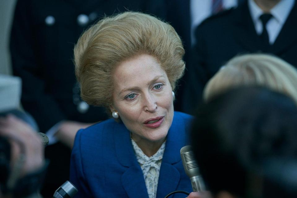 THE CROWN, Gillian Anderson as Margaret Thatcher, (Season 4, ep. 401, aired Nov. 15, 2020). photo: Des Willie / Netflix / Courtesy: Everett Collection