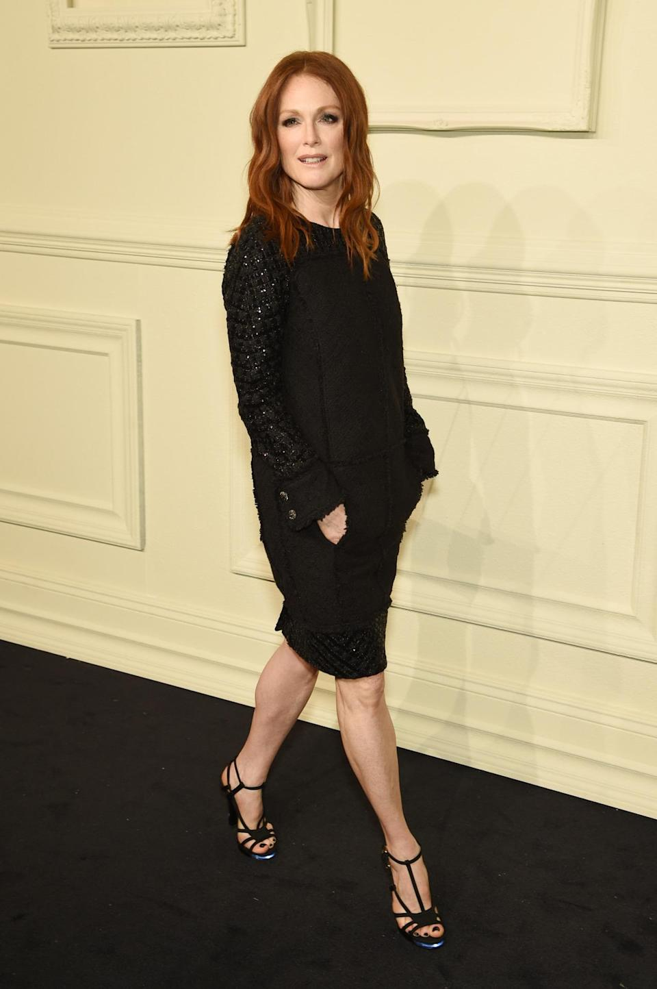 <p>The Oscar-winning actress looked utterly chic in a black knit dress which she accessorized with shoes that lit up as she walked.</p>