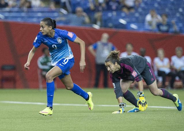 Brazil's Andressa Alves (L) gets past Spain's goalkeeper Ainhoa Tirapu to score during their Group E match at the 2015 FIFA Women's World Cup at the Olympic Stadium in Montreal on June 13, 2015 (AFP Photo/Nicholas Kamm)