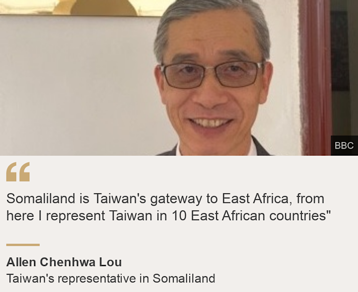"""Somaliland is Taiwan's gateway to East Africa, from here I represent Taiwan in 10 East African countries"""", Source: Allen Chenhwa Lou, Source description: Taiwan's representative in Somaliland, Image: Allen Chenhwa Lou"