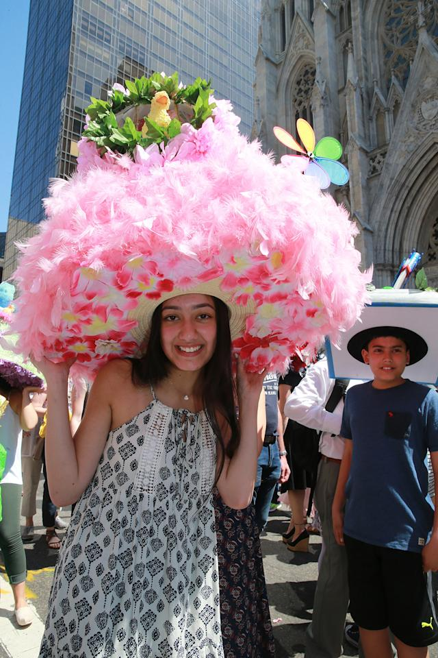 <p>A parade participants displays her bonnet during the 2017 New York City Easter Parade on April 16, 2017. (Photo: Gordon Donovan/Yahoo News) </p>