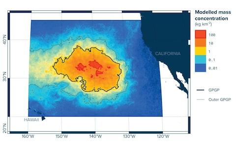 The Great Pacific Garbage Patch sites between California and Hawaii