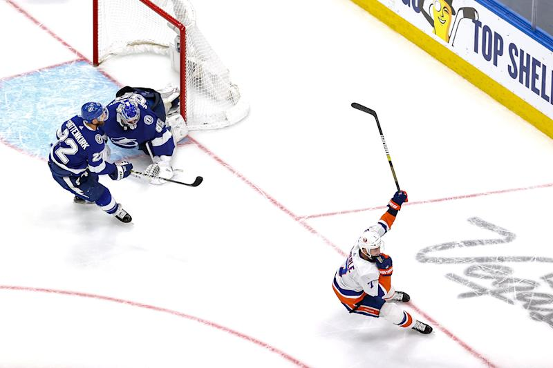 EDMONTON, ALBERTA - SEPTEMBER 15: Jordan Eberle #7 of the New York Islanders celebrates after scoring the game-winning goal past Andrei Vasilevskiy #88 of the Tampa Bay Lightning during the second overtime period to give the Islanders the 2-1 victory in Game Five of the Eastern Conference Final during the 2020 NHL Stanley Cup Playoffs at Rogers Place on September 15, 2020 in Edmonton, Alberta, Canada. (Photo by Bruce Bennett/Getty Images)