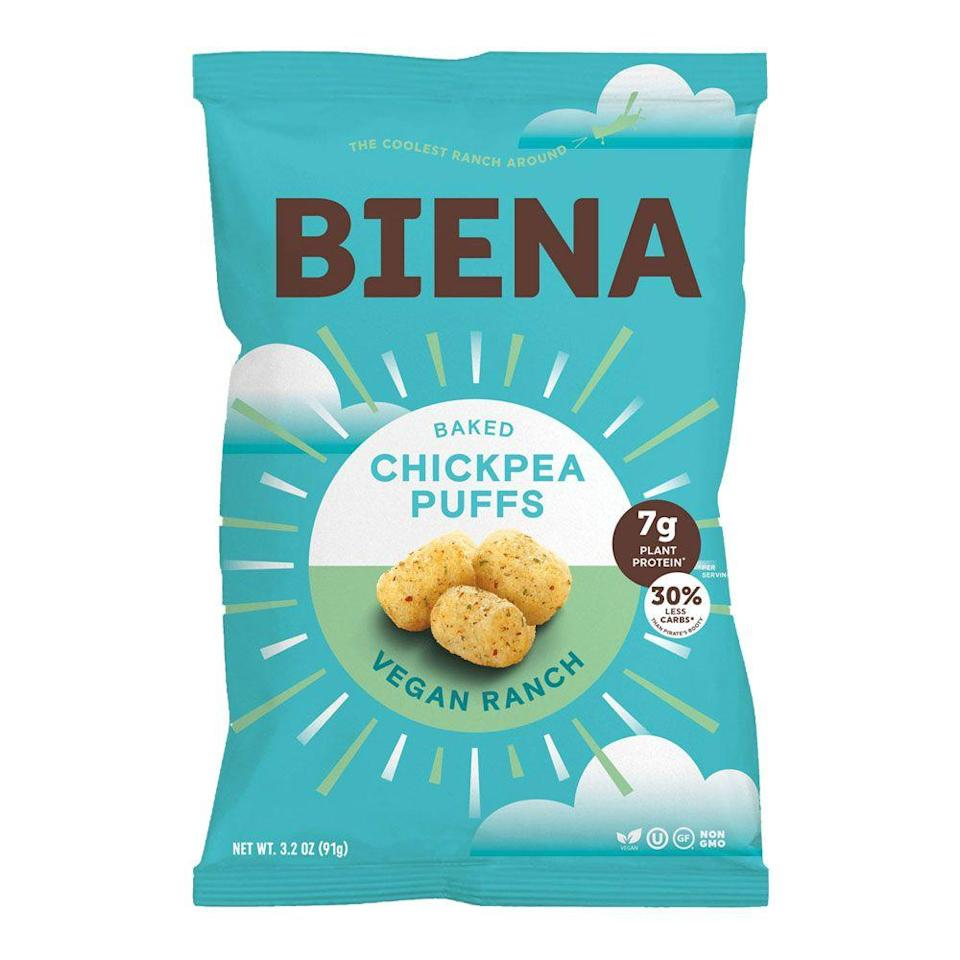 <p>Chickpeas no longer just go on salads from a can—these crispy puffs are kinda like Cheez Doodles, but packed with plant protein. You can still find them in tons of flavors.</p>