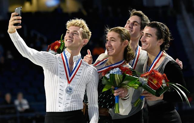 <p>(L-R) Rippon, Jason Brown, Joshua Farris and Max Aaron pose with their medals after the Championship Men's Free Skate Program Competition.<br>(Photo by Jared C. Tilton/Getty Images) </p>