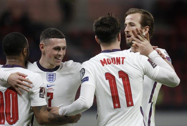 Raheem Sterling, Phil Foden, Mason Mount and Harry Kane, l-r