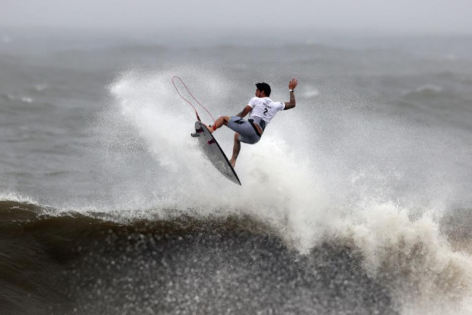 ICHINOMIYA, JAPAN - JULY 27: Gabriel Medina of Team Brazil completes an air reverse 540 for a score of 9.0, the highest of the event to date, during his men's Quarter Final on day four of the Tokyo 2020 Olympic Games at Tsurigasaki Surfing Beach on July 27, 2021 in Ichinomiya, Chiba, Japan. (Photo by Ryan Pierse/Getty Images)