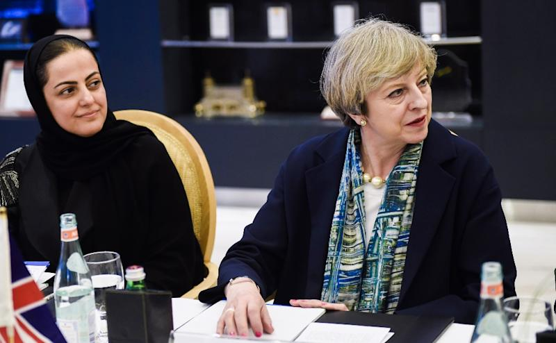 Rania Nashar, chief executive of Samba Financial Group, with British Prime Minister Theresa May in Riyadh on April 4, 2017 (AFP Photo/FAYEZ NURELDINE)
