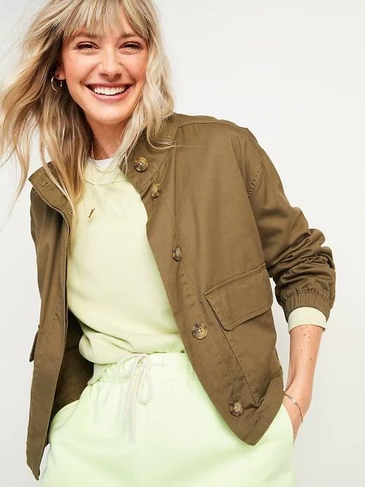 <p>Grab this <span>Old Navy Cropped Twill Utility Jacket</span> ($30, originally $50) on sale now as your new in-between-season coat.</p>