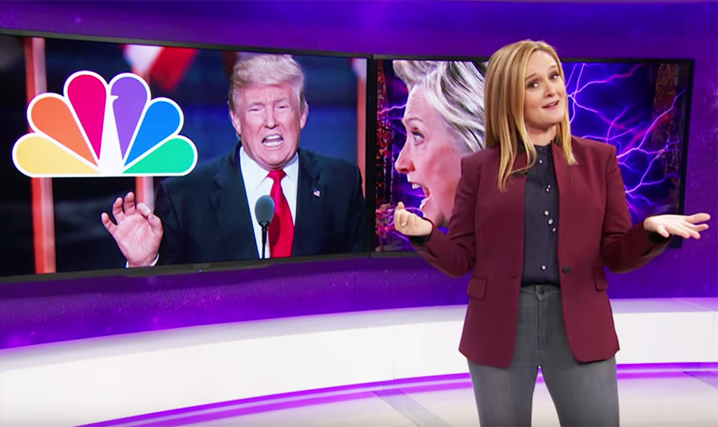 """<p>Bee delivered a number of epic takedowns about Donald Trump and his polarizing campaign, but here she's at her fiery, incandescent best. She rips NBC for normalizing Trump and his racist, misogynistic views by inviting him both to host <em>Saturday Night Live</em> and to sit with Jimmy Fallon for a fluff interview on <em>The Tonight Show</em>. """"I guess because ratings matter more than brown people,"""" she says with a sarcastic shrug. The more you know. —<em>KW</em><br />(Photo: TBS) </p>"""