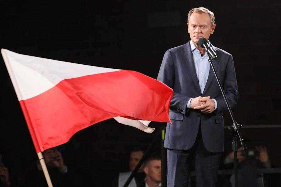 Donald Tusk, Civic Platform leader, speaks to the crowd as protesters gather (Getty Images)