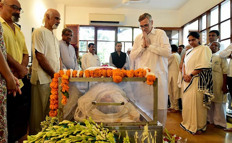 National Conference's Omar Abdullah and Communist Party of India's D Raja also paid their respects to her on Sunday at her residence. PTI