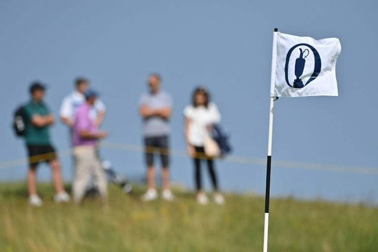 The claret jug flutters during a practice round for the 149th British Open Golf Championship at Royal St George's, Sandwich