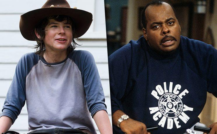 Chandler Riggs as Carl Grimes in AMC's The Walking Dead and Reginald VelJohnson as Carl Winslow in ABC's Family Matters.