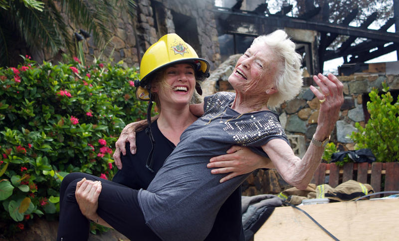 "<p>Kate Winslet's 2011 vacation to the Caribbean's Necker Island wasn't all about rest and relaxation. A fire broke out at Richard Branson's mansion when it was struck by lightning during Hurricane Irene. One of 20 houseguests, Winslet made sure her two young kids were safe and then helped carry Branson's 90-year-old mother outside. ""I'm just glad that everyone is safe,"" Winslet, who is now wed to Branson's nephew Ned Rocknroll, said. ""And this easily could not have been the case."" <i>(Photo: Jack Brockway/Splash News)</i></p>"