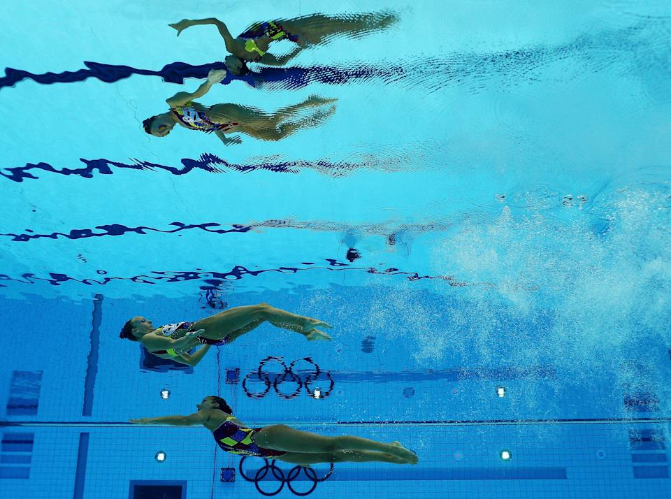 Gagnon Boudreau and Elise Marcotte of Canada compete in the Women's Duets Synchronised Swimming Free Routine Final on Day 11 of the London 2012 Olympic Games at the Aquatics Centre on August 7, 2012 in London, England. (Photo by Clive Rose/Getty Images)