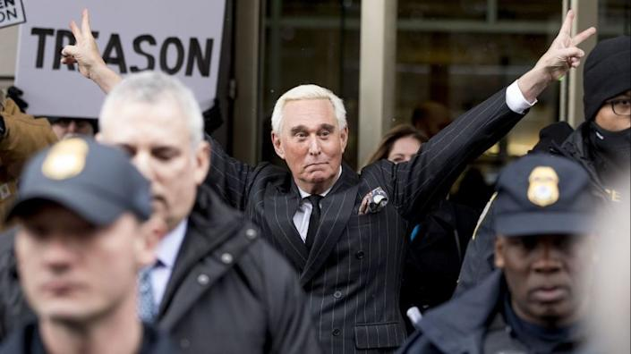"""Roger Stone leaves federal court in Washington on Feb. 1, 2019. <span class=""""copyright"""">(Andrew Harnik / Associated Press)</span>"""