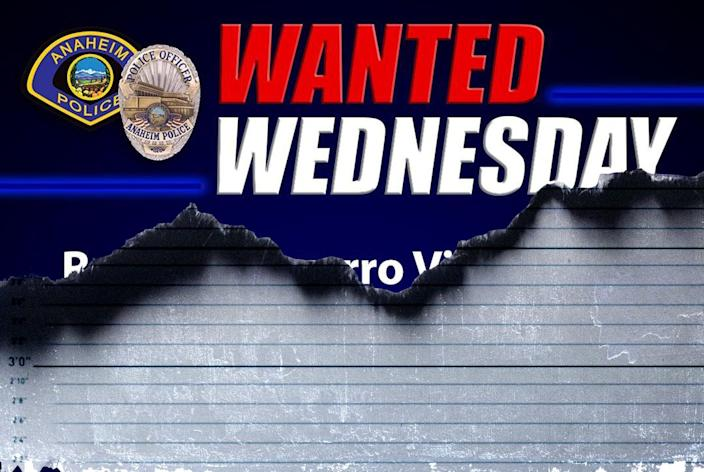 Photo illustration of a police department social media wanted poster on top and a mugshot height chart on bottom.