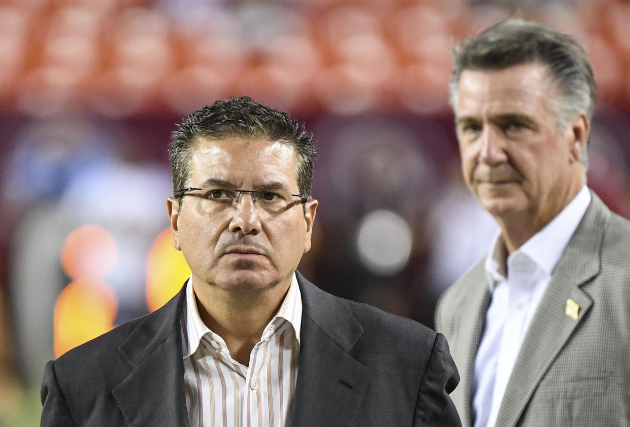 LANDOVER, MD - SEPTEMBER 23: Redskins owner Daniel Snyder, left, and Redskins general manager Bruce Allen on the sideline before a Monday Night Football game against the Chicago Bears at FedEx Field. (Photo by Jonathan Newton / The Washington Post via Getty Images)