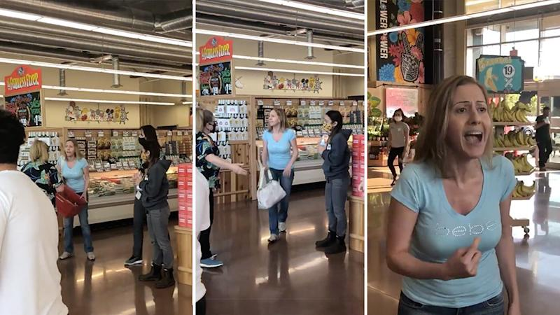 'Karen' went off at staff who told her to leave aTrader Joe's for not wearing a mask, calling worker 'f**king pigs'. Source: Twitter/@ItsRellzWorld
