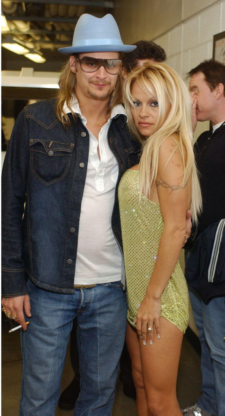 """<p><em>Baywatch</em> babe Pam and Kid Rock's marriage is perhaps most notable for their now-famous wedding, which took place on a party yacht in St. Tropez. The marriage lasted from July 2006 to November 2007, and <a href=""""https://www.hollywoodreporter.com/features/pamela-anderson-defends-julian-assange-talks-vladimir-putin-more-1107298"""" rel=""""nofollow noopener"""" target=""""_blank"""" data-ylk=""""slk:Pamela says"""" class=""""link rapid-noclick-resp"""">Pamela says</a> she never spoke to him again after their divorce. </p>"""