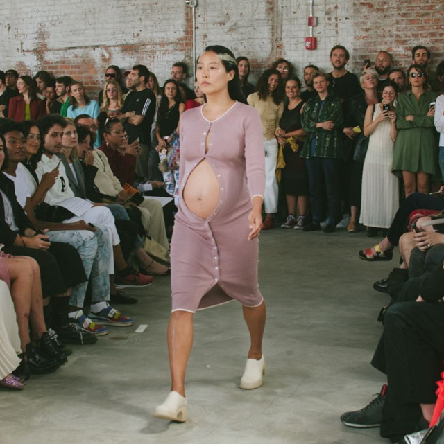Design duo Eckhaus Latta sent a heavily pregnant model down the runway. (Photo: Instagram/unwrinkling)