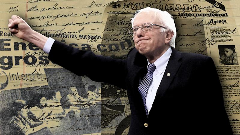 Sen. Bernie Sanders with archived clips. (Photo illustration: Yahoo News; clips via University of Vermont Libraries)