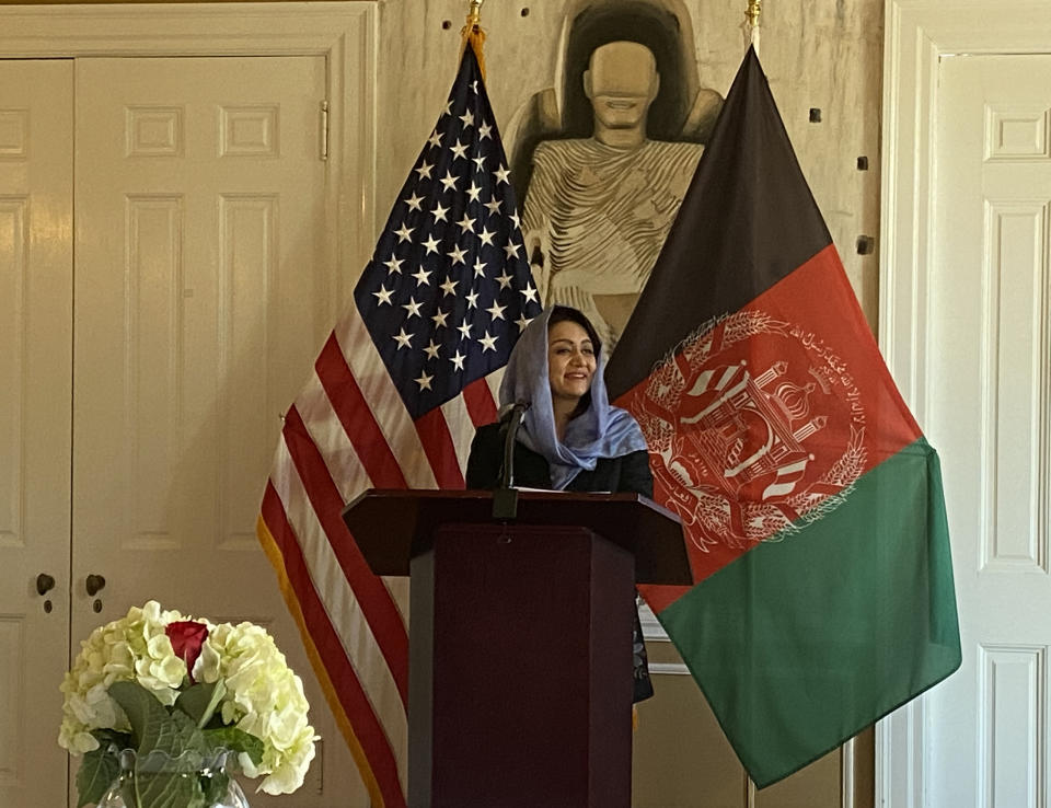Ambassador Roya Rahmani speaks at the Afghan Embassy in Washington, DC on April 20, 2021. (Jenna McLaughlin/Yahoo News)