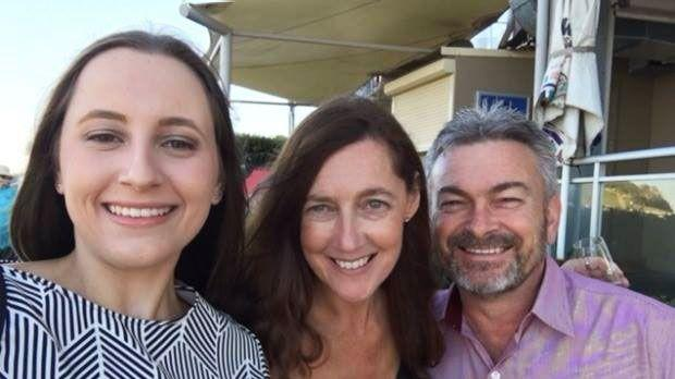 Karen is pictured with her daughter Sarah and husband Borce, who her step-son Anthony Rickard came to live with when he was 14. Photo: 7 News