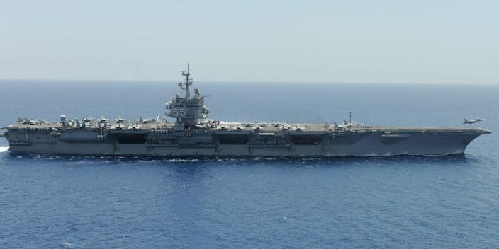 F/A-18F fighter jet launches from aircraft carrier USS Enterprise