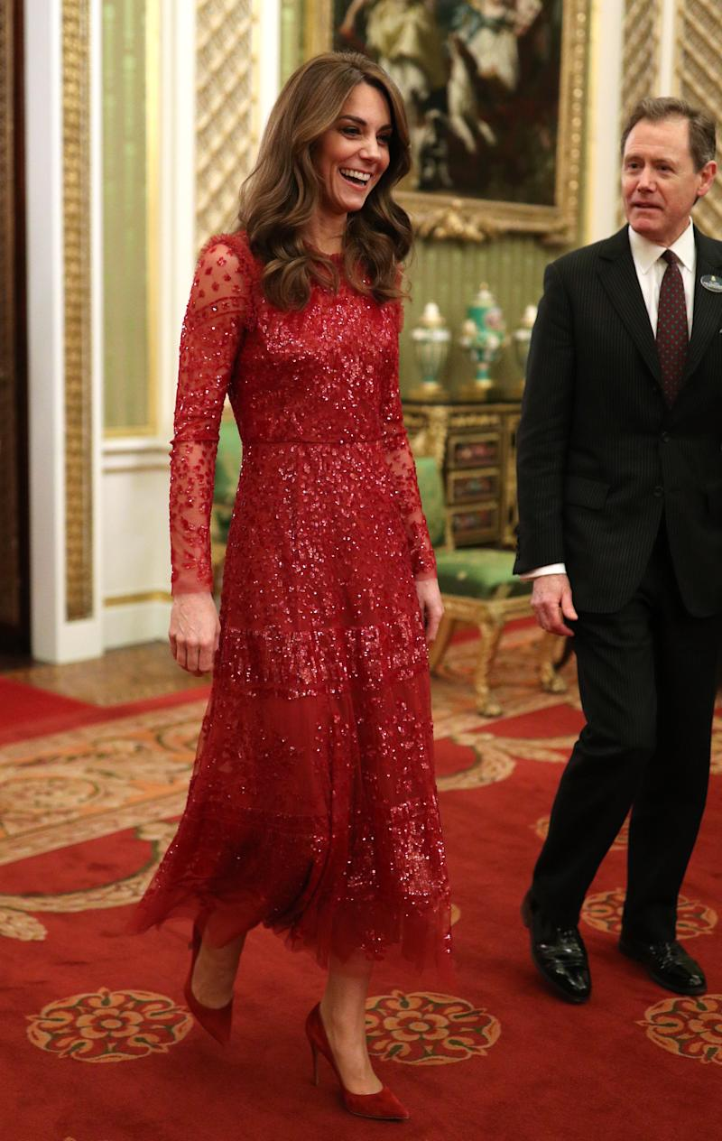 The Duchess of Cambridge wore a sequin red dress at Buckingham Palace to mark the UK-Africa Investment Summit. [Photo: PA]