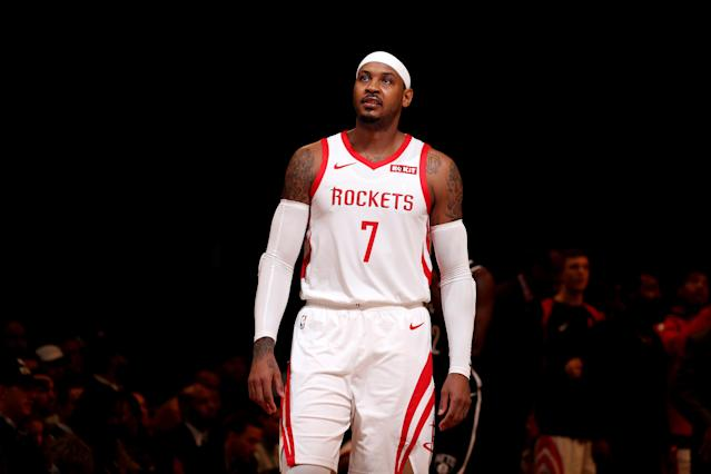 "The Rockets have reportedly sent <a class=""link rapid-noclick-resp"" href=""/nba/players/3706/"" data-ylk=""slk:Carmelo Anthony"">Carmelo Anthony</a> and cash to the <a class=""link rapid-noclick-resp"" href=""/nba/teams/chicago/"" data-ylk=""slk:Chicago Bulls"">Chicago Bulls</a>. (Getty)"