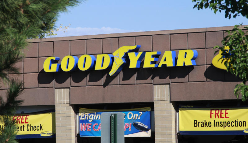 The Goodyear Tire and Rubber Co storefront is seen in Westminster, Colorado August 27, 2013. Goodyear rose 1.7 percent to $19.54 a day after the company said one of its largest investors had raised its stake in the company by 44 percent. REUTERS/Rick Wilking (UNITED STATES - Tags: BUSINESS)