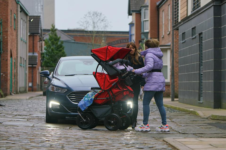 At baby yoga Vanessa apologises to Gemma Winter [DOLLY-ROSE CAMPBELL] for the 'misunderstanding' over the party and invites her to join she and Imogen for lunch. Gemma's pleased but as they ply her with prosecco then she hears them bitching about her an upset Gemma grabs the buggy and heads out. In her emotional state, Gemma fails to spot an oncoming car which screeches to a halt, narrowly missing the buggy. A police officer realises Gemma's been drinking  (ITV Plc)