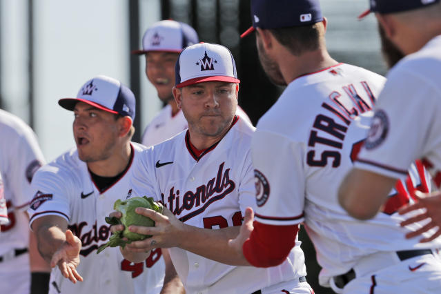 Washington Nationals' JB Shuck, center, is handed a cabbage by teammate Javy Guerra, left, before handing it to Hunter Strickland, right, as part of a team building exercise during spring training baseball practice Monday, Feb. 17, 2020, in West Palm Beach, Fla. The event was also held to mark National Cabbage Day. (AP Photo/Jeff Roberson)