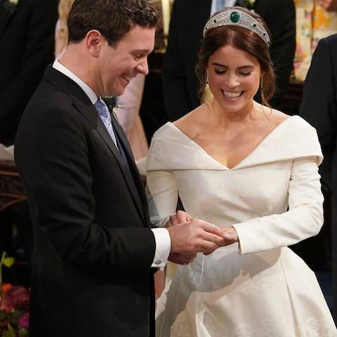 Princess Eugenie and Jack Brooksbank exchange rings - Credit: Getty