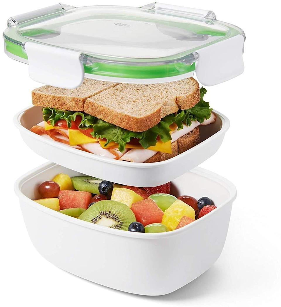 """Itseparates your leftovers into wet and dry so nothing gets soggy.This BPA-free container is dishwasher-, microwave- and freezer-safe.<br /><br /><strong>Promising Review:</strong>""""I love this container. I put a salad under and food to warm in the microwave on top. I store it sideways in my lunch box and it never leaks. The rubber sealer can be easily removed for cleaning. Awesome!"""" —<a href=""""https://www.amazon.com/gp/customer-reviews/R2S8SU66B9894H?&linkCode=ll2&tag=huffpost-bfsyndication-20&linkId=077f9233077d2ec784fabafd4002d760&language=en_US&ref_=as_li_ss_tl"""" target=""""_blank"""" rel=""""noopener noreferrer"""">Susan</a><br /><br /><strong>Get it from Amazon for <a href=""""https://www.amazon.com/dp/B013KB26CK?&linkCode=ll1&tag=huffpost-bfsyndication-20&linkId=25d21baf96528a94502295e24a8a42df&language=en_US&ref_=as_li_ss_tl"""" target=""""_blank"""" rel=""""noopener noreferrer"""">$12.99</a>.</strong>"""