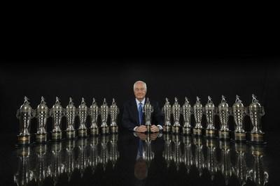 Roger Penske and his 17 BorgWarner Championship Team Owner's Trophies Photo: Michael L. Levitt for BorgWarner