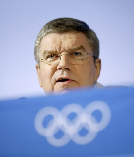 International Olympic Committee President Thomas Bach speaks during a press conference at the 2014 Winter Olympics, Monday, Feb. 3, 2014, in Sochi, Russia. (AP Photo/David Goldman)