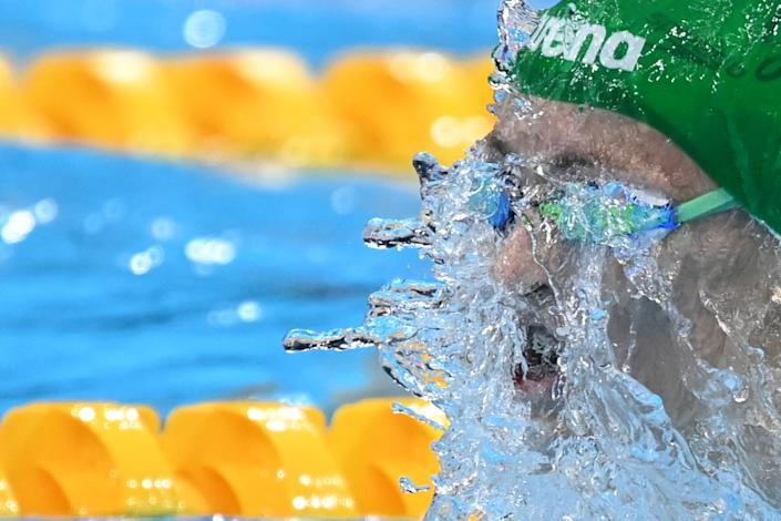 <p>South Africa's Tatjana Schoenmaker competes in a semi-final of the women's 100m breaststroke swimming event during the Tokyo 2020 Olympic Games at the Tokyo Aquatics Centre in Tokyo on July 26, 2021. (Photo by Jonathan NACKSTRAND / AFP)</p>