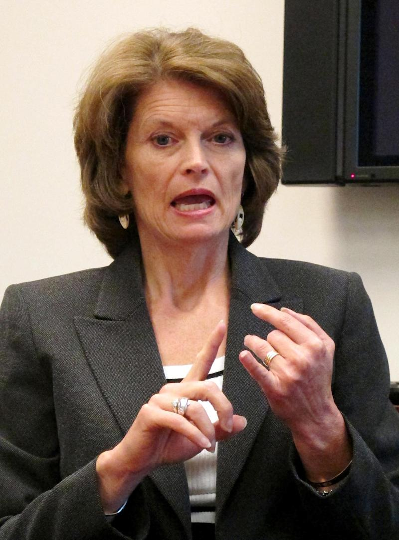 """FILE - In this April 19, 2011 file photo, Sen. Lisa Murkowski, R-Alaska gestures during an interview in Anchorage, Alaska. Is the 2012 election shaping up to be all about women? Democrats are accusing the GOP of a """"war against women"""" after the Republicans reignited a national debate over cultural issues, including birth control. President Barack Obama says the Democrats have the best story to tell female voters. But Republicans _ including Ann Romney and Alaska Sen. Lisa Murkowski _ say their party will win by focusing on women's top issue: the economy.  (AP Photo/Mark Thiessen, File)"""