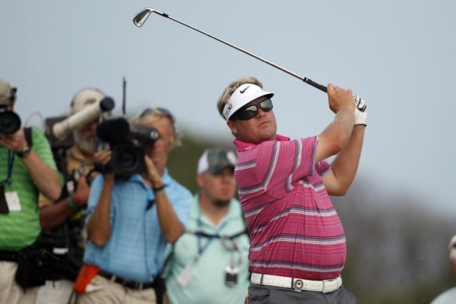 Carl Pettersson, of Sweden, hits from the sixth fairway during the second round of the PGA Championship golf tournament on the Ocean Course of the Kiawah Island Golf Resort in Kiawah Island, S.C., Friday, Aug. 10, 2012. (AP Photo/Lynne Sladky)