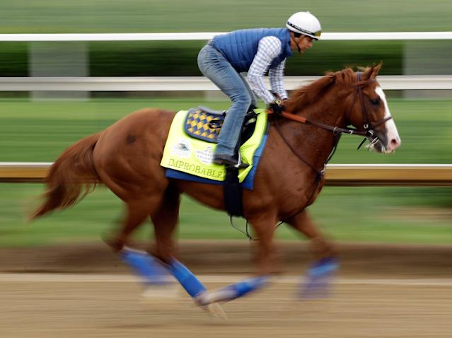 Trained by Bob Baffert, Improbable is the favorite to win the Preakness on Saturday. (AP)