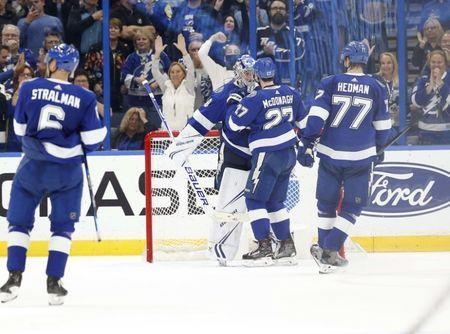 Jan 8, 2019; Tampa, FL, USA; Tampa Bay Lightning goaltender Andrei Vasilevskiy (88) defenseman Ryan McDonagh (27) and defenseman Victor Hedman (77) congratulate each other as they beat the Columbus Blue Jackets at Amalie Arena. Mandatory Credit: Kim Klement-USA TODAY Sports