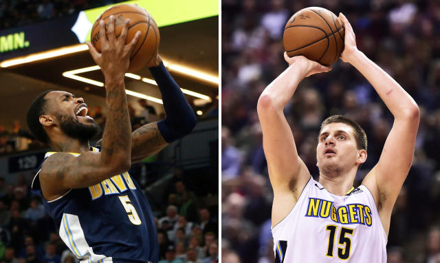 FILE - At left, in an April 11, 2018, file photo, Denver Nuggets' Will Barton, left, shoots against the Minnesota Timberwolves during the second half of an NBA basketball game, in Minneapolis. At right, in a March 27, 2018, file photo, Denver Nuggets center Nikola Jokic (15) shoots against the Toronto Raptors during the second half of an NBA basketball game, in Toronto. The Nuggets doled out roughly $200 million to lock up big man Nikola Jokic and bring back guard Will Barton. They'll be counted on heavily as the Nuggets try to return to the postseason for the first time since 2012-13. (AP Photo/File)