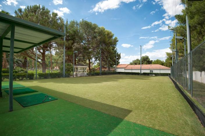 """<p>What multimillion-dollar resort compound would be complete without a fenced, fully lighted automated golf driving range with three separate teeing spaces? (All photos via <a href=""""http://bit.ly/1OjQdjg"""" rel=""""nofollow noopener"""" target=""""_blank"""" data-ylk=""""slk:Concierge Auctions listing"""" class=""""link rapid-noclick-resp"""">Concierge Auctions listing</a>)</p>"""