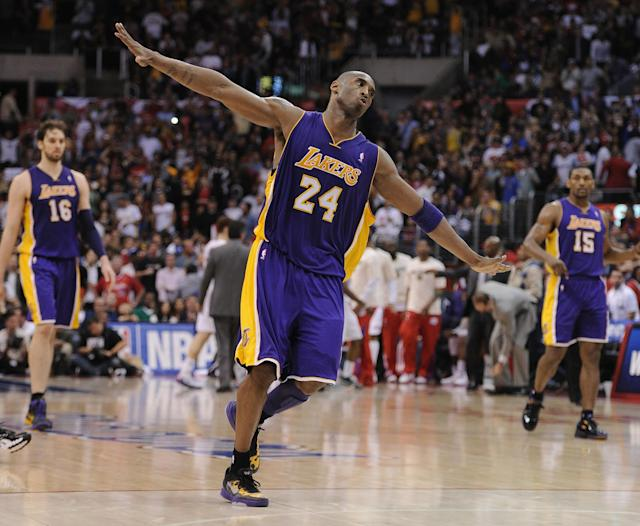 LOS ANGELES, CA - APRIL 04: Kobe Bryant #24 of the Los Angeles Lakers celebrates his basket against the Los Angeles Clippers late in the fourth quarter during a 113-108 win at Staples Center on April 4, 2012 in Los Angeles, California. NOTE TO USER: User expressly acknowledges and agrees that, by downloading and or using this photograph, User is consenting to the terms and conditions of the Getty Images License Agreement. (Photo by Harry How/Getty Images)